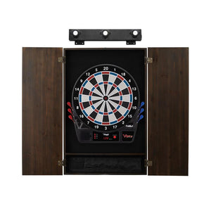 Viper Vtooth 1000 Electronic Dartboard, Metropolitan Espresso Cabinet & Shadow Buster Dartboard Light Bundle