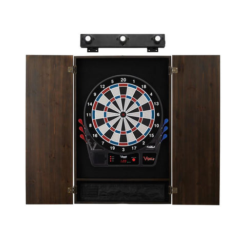 Image of Viper Vtooth 1000 Electronic Dartboard, Metropolitan Espresso Cabinet & Shadow Buster Dartboard Light Bundle