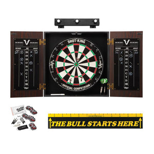 "Viper Stadium Cabinet with Shot King Sisal Dartboard, Shadow Buster Dartboard Lights, ""The Bull Starts Here"" Throw Line Marker & Steel Tip Dart Accessories Kit"