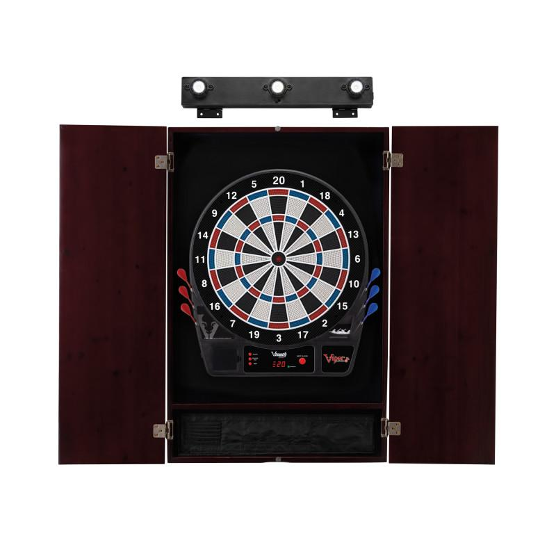 Viper Vtooth 1000 Electronic Dartboard, Metropolitan Mahogany Cabinet & Shadow Buster Dartboard Light Bundle Darts Viper