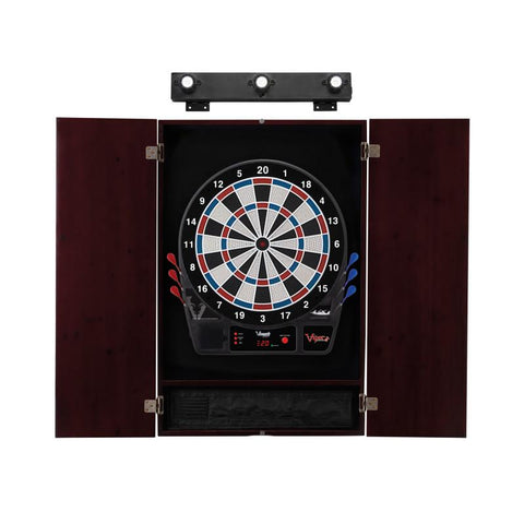Image of Viper Vtooth 1000 Electronic Dartboard, Metropolitan Mahogany Cabinet & Shadow Buster Dartboard Light Bundle Darts Viper