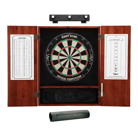 Viper Shot King Sisal Dartboard, Metropolitan Cinnamon Cabinet, Shadow Buster Dartboard Lights & Padded Dart Mat Darts Viper