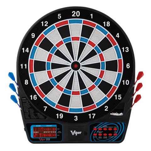 "Image of Viper 777 Electronic Dartboard, ""The Bull Starts Here"" Throw Line Marker, Sure Grip Black Soft Tip Darts, Dart Tip Remover Tool & Tufflex II Black Dart Tips"