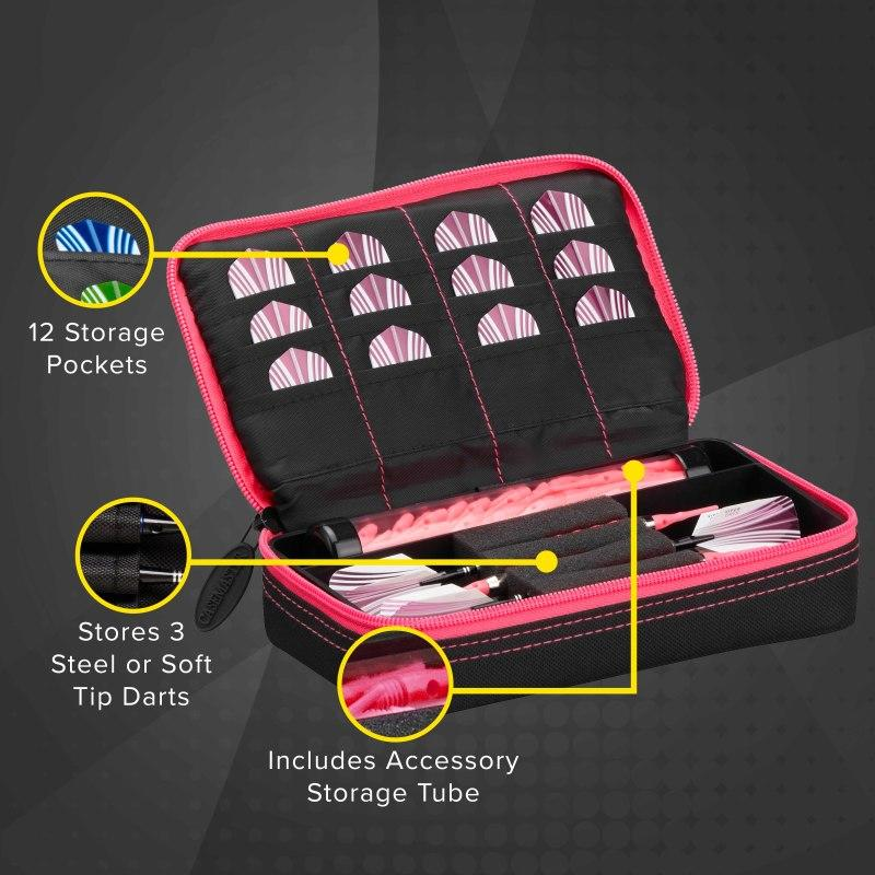 Casemaster Plazma Dart Case Black with Pink Trim Dart Cases Casemaster
