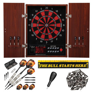 "Viper Neptune Electronic Dartboard, ""The Bull Starts Here"" Throw Line Marker, Blazer 16g Soft Tip Darts, Dart Tip Remover Tool & Tufflex II Black Dart Tips"