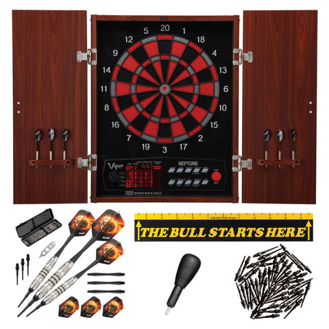 "Image of Viper Neptune Electronic Dartboard, ""The Bull Starts Here"" Throw Line Marker, Blazer 16g Soft Tip Darts, Dart Tip Remover Tool & Tufflex II Black Dart Tips Darts Viper"