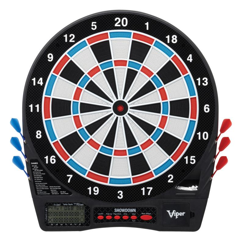 Viper Showdown Electronic Dartboard, Metropolitan Cinnamon Cabinet, Throw Line Marker & Shadow Buster Dartboard Light Bundle