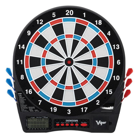 "Image of Viper Showdown Electronic Dartboard, Metropolitan Mahogany Cabinet, ""The Bull Starts Here"" Throw Line Marker & Shadow Buster Dartboard Lights Darts Viper"