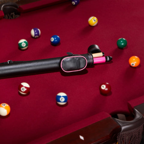 Image of Casemaster Q-Vault Supreme Black with Pink Trim Cue Case Billiard Cue Case Casemaster
