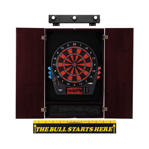Viper Specter Electronic Dartboard, Metropolitan Mahogany Cabinet, Throw Line Marker & Shadow Buster Dartboard Light Bundle