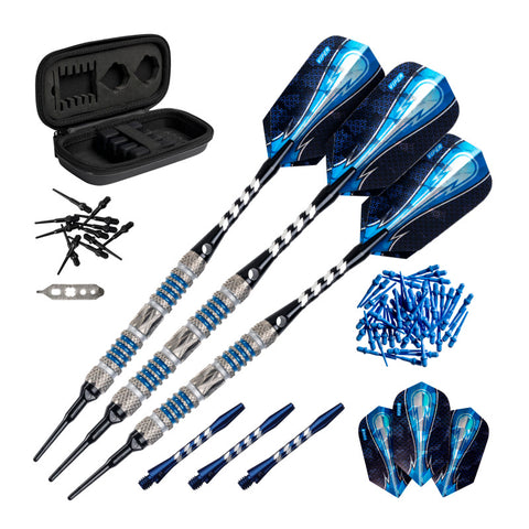 Image of Viper Astro 80% Tungsten Soft Tip Darts, Blue Accessory Set with Case