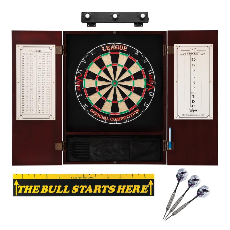 "Viper League Sisal Dartboard, Metropolitan Mahogany Cabinet, Shadow Buster Dartboard Lights & ""The Bull Starts Here"" Throw Line Marker"