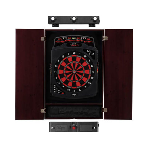 Viper Solar Blast Electronic Dartboard, Metropolitan Mahogany Cabinet, Laser Throw Line Marker & Shadow Buster Dartboard Lights