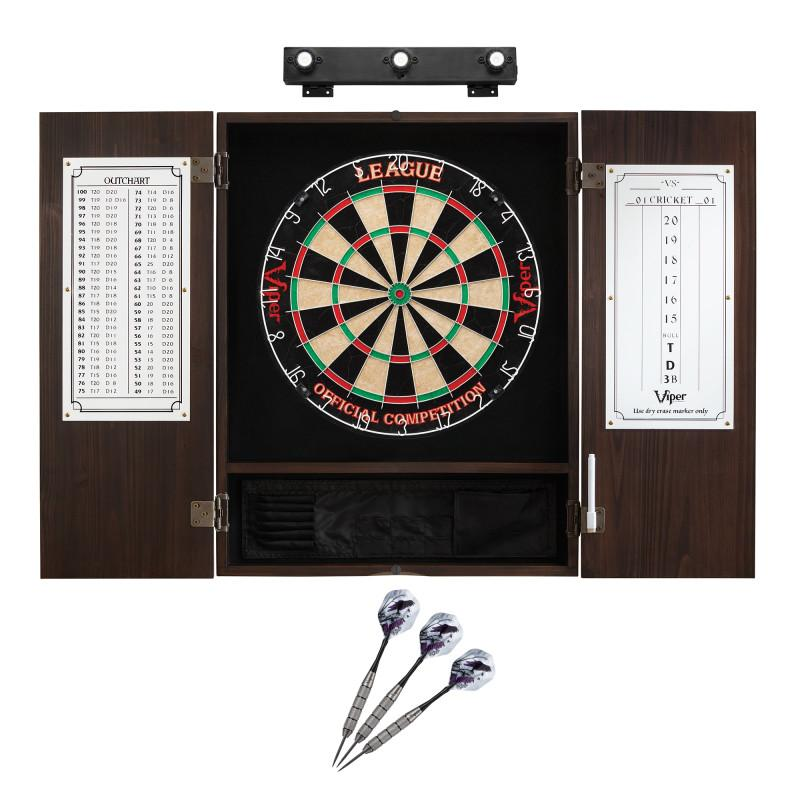 Viper League Sisal Dartboard, Metropolitan Espresso Cabinet, Underground The Raven Steel Tip Darts & Shadow Buster Dartboard Lights
