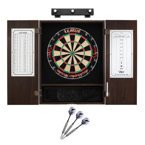 Image of Viper League Sisal Dartboard, Metropolitan Espresso Cabinet, Underground The Raven Steel Tip Darts & Shadow Buster Dartboard Lights