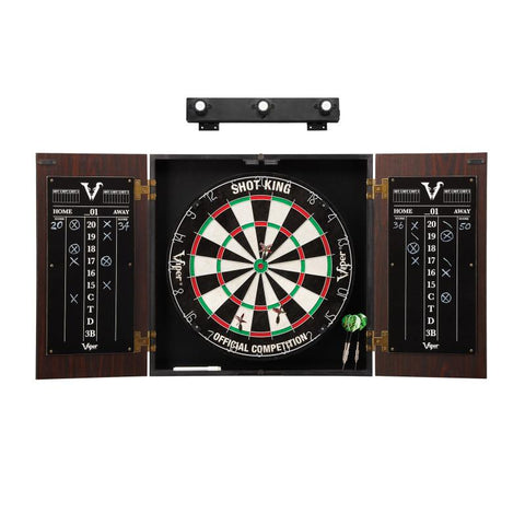 Image of Viper Stadium Cabinet with Shot King Sisal Dartboard & Shadow Buster Dartboard Lights Darts Viper