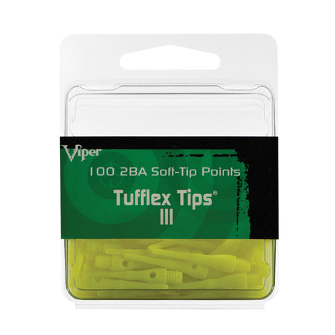 Viper Tufflex Tips III 2BA Neon Yellow 100Ct Soft Dart Tips