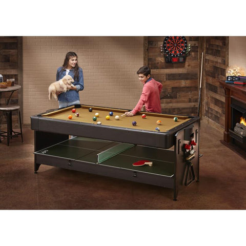 Fat Cat Original 3-in-1 Tan 7' Pockey™ Multi-Game Table Multi-Tables Fat Cat