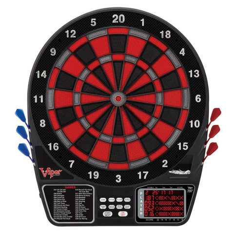 Image of Viper 797 Electronic Dartboard, Metropolitan Mahogany Cabinet, Throw Line Marker & Shadow Buster Bundle Darts Viper