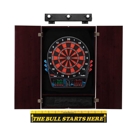 Viper Orion Electronic Dartboard, Metropolitan Mahogany Cabinet, Throw Line Marker & Shadow Buster Dartboard Light Bundle