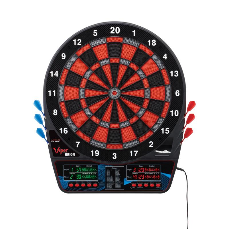 Viper Orion Electronic Dartboard, Metropolitan Mahogany Cabinet, Throw Line Marker & Shadow Buster Dartboard Light Bundle Darts Viper