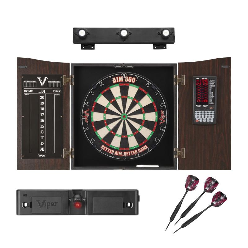 Viper Vault Deluxe Dartboard Cabinet with Built-In Pro Score, AIM 360 Dartboard, Laser Throw Line, and Shadow Buster Light Viper