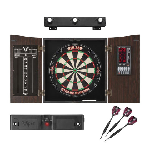 Viper Vault Deluxe Dartboard Cabinet with Integrated Pro Score with Included AIM 360, Laser Line Throwline, and Shadowbuster Cabinet Light System