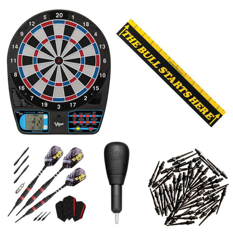 "Viper 787 Electronic Dartboard, ""The Bull Starts Here"" Throw Line Marker, Black Ice Red 18g Soft Tip Darts, Dart Tip Remover Tool & Tufflex II Black Dart Tips Darts Viper"