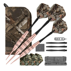 Fat Cat Realtree Hardwoods HD Steel Tip Darts 23gm and Casemaster Realtree Hardwoods Deluxe Camouflage Case Steel-Tip Darts Fat Cat