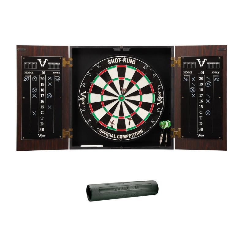 Viper Stadium Cabinet with Shot King Sisal Dartboard & Padded Dart Mat Darts Viper