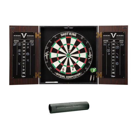 Image of Viper Stadium Cabinet with Shot King Sisal Dartboard & Padded Dart Mat Darts Viper