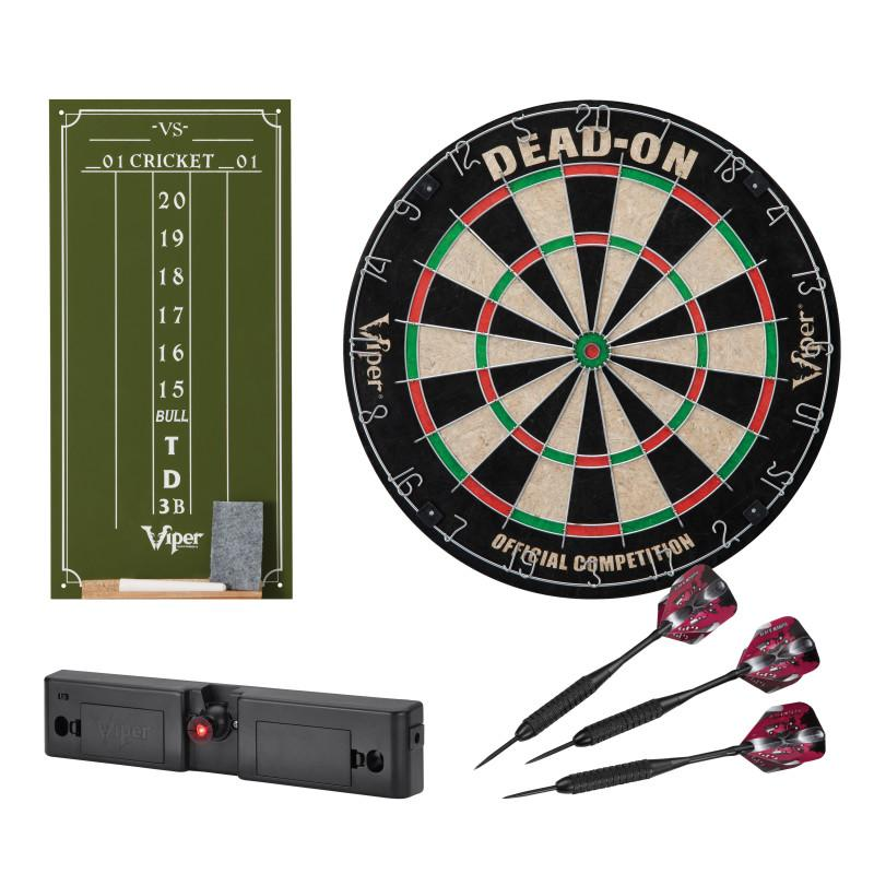 Viper Dead-On Bristle Dartboard, Viper Small Cricket Chalk Scoreboard, Viper Dart Laser Line, and Viper Black Mariah Steel Tip Darts 22 Grams Darts Viper