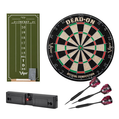 Image of Viper Dead-On Bristle Dartboard, Viper Small Cricket Chalk Scoreboard, Viper Dart Laser Line, and Viper Black Mariah Steel Tip Darts 22 Grams Darts Viper