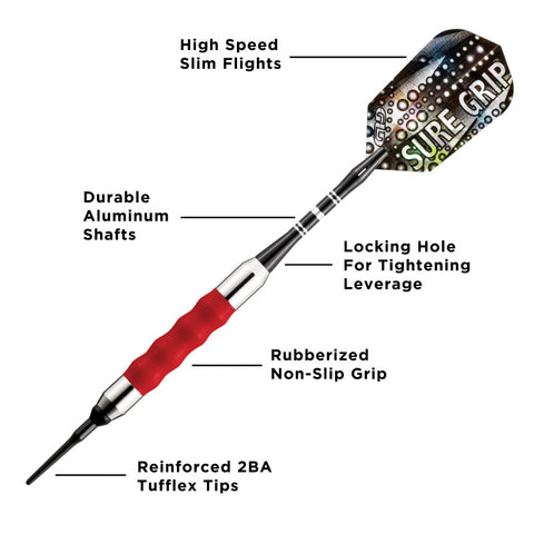 Image of Viper Sure Grip Soft Tip Darts Red 18 Grams