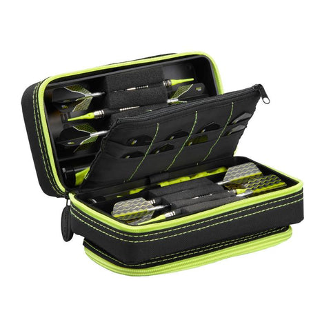 Image of Casemaster Plazma Pro Dart Case Black with Yellow Trim and Phone Pocket Dart Cases Casemaster