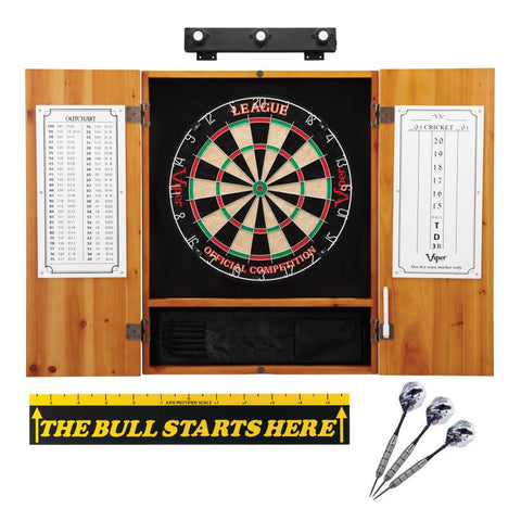 "Viper League Sisal Dartboard, Metropolitan Oak Cabinet, Shadow Buster Dartboard Lights, ""The Bull Starts Here"" Throw Line Marker & Underground Raven Steel Tip Darts"