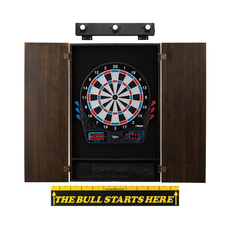 Viper 777 Electronic Dartboard, Metropolitan Espresso Cabinet, Throw Line Marker & Shadow Buster Dartboard Light Bundle Darts Viper