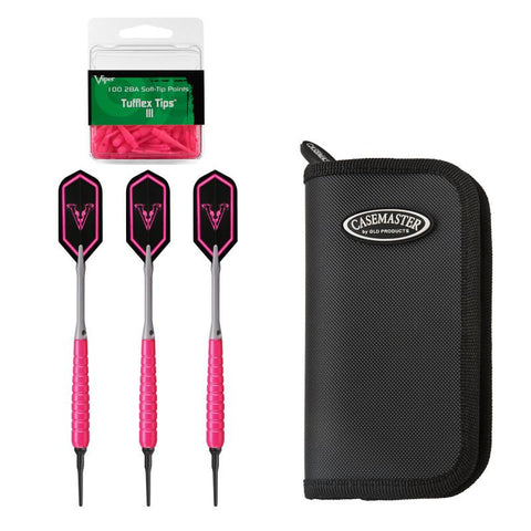 Viper V Glo Soft Tip 18gm Pink, Casemaster Deluxe Black Nylon Case, and Viper 2BA Tufflex Tips III- Neon Pink 100ct. Box Soft-Tip Darts Viper