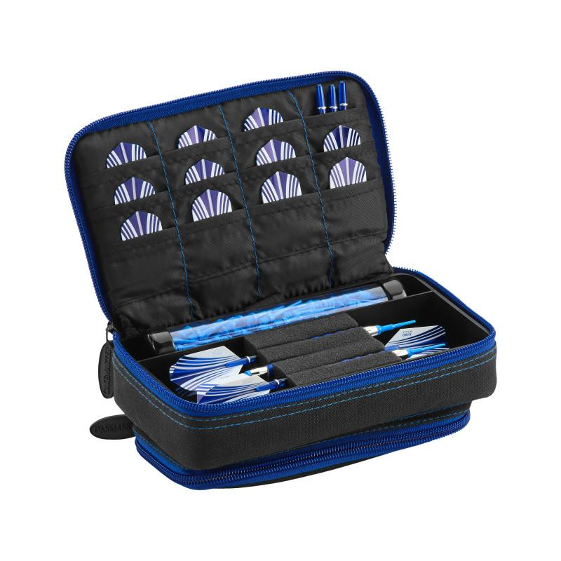 Casemaster Plazma Plus Dart Case Black with Sapphire Zipper and Phone Pocket Dart Cases Casemaster