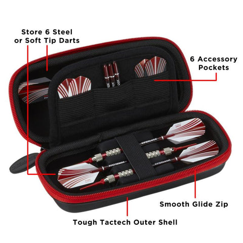 Casemaster Sentry Dart Case and Two Sets of Viper Soft Tip Darts 18 Grams Red Soft-Tip Darts Viper