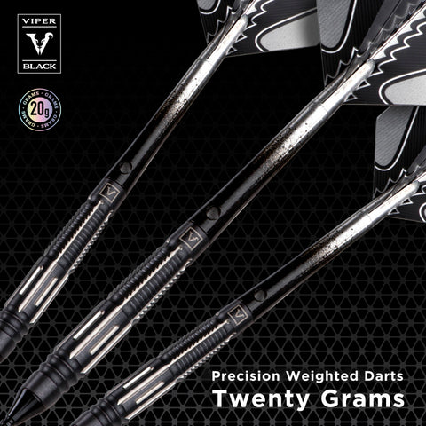 Image of Viper Black Flux 90% Tungsten Steel or Soft Tip Conversion Darts Black/Silver 20 Grams