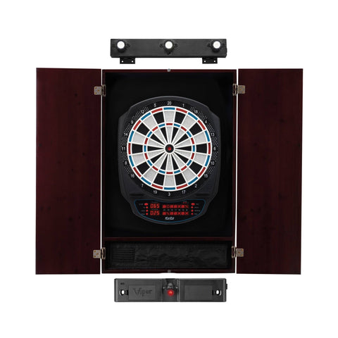 Image of Viper Rigel Electronic Dartboard, Metropolitan Mahogany Cabinet, Laser Throw Line & Shadow Buster Dartboard Light Bundle