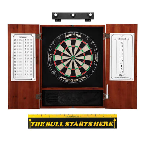 "Viper Shot King Sisal Dartboard, Metropolitan Cinnamon Cabinet, Shadow Buster Dartboard Lights & ""The Bull Starts Here"" Throw Line Marker Darts Viper"