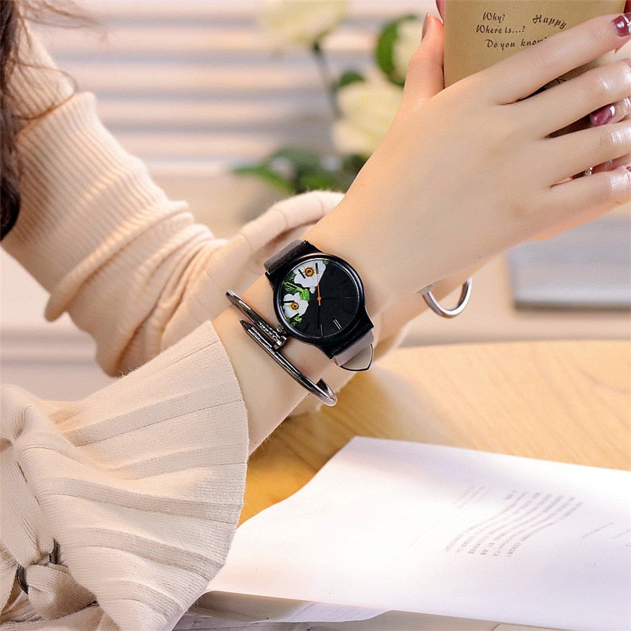Vintage Leather Floral Pattern Womans Watch