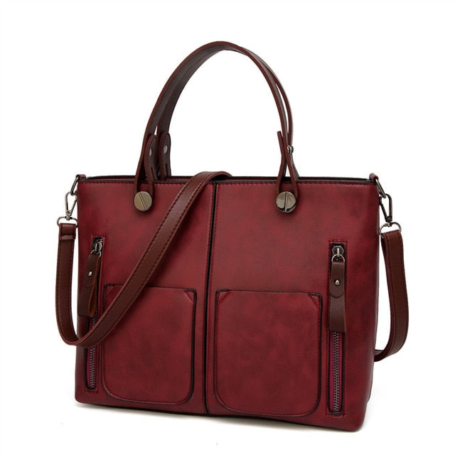 Vintage Faux Leather Tote Handbag For Women