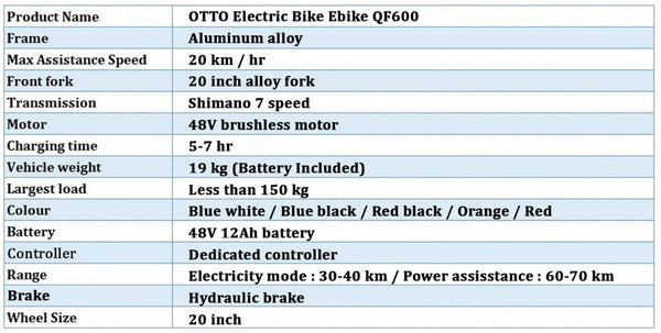 Otto QF600 Specifications