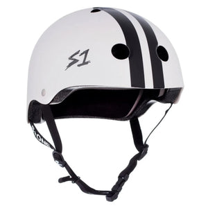 S1 White Black Stripe Helmet