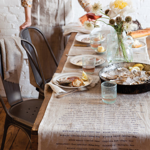 'Oyster' Linen Table Runner