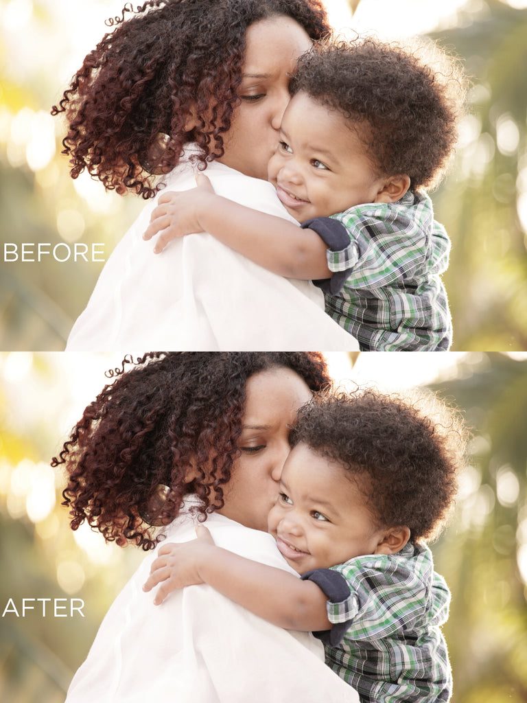 Vignette Photoshop added to photo of Mother carrying toddler before and after Photoshop vignette added