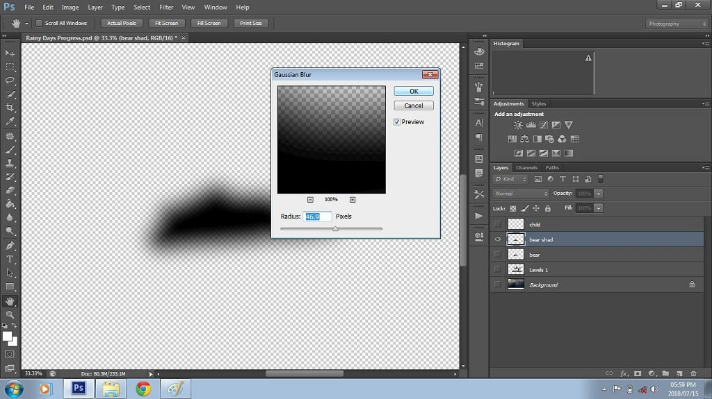Adding Blur to Composite in Photoshop